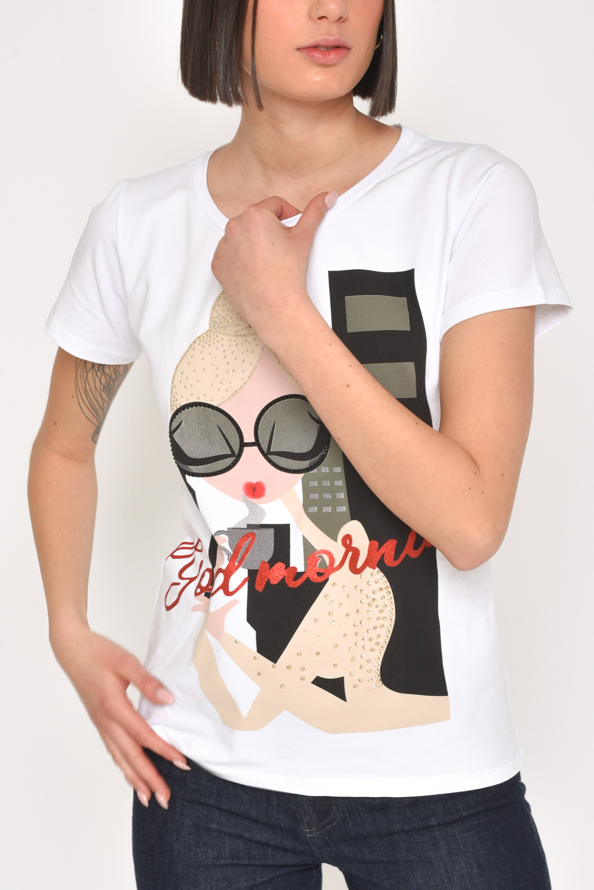 "T-SHIRT ""GOODMORNING"" IN COTONE CON STRASS for women - WHITE/BLACK - Paquito Pronto Moda Shop Online"