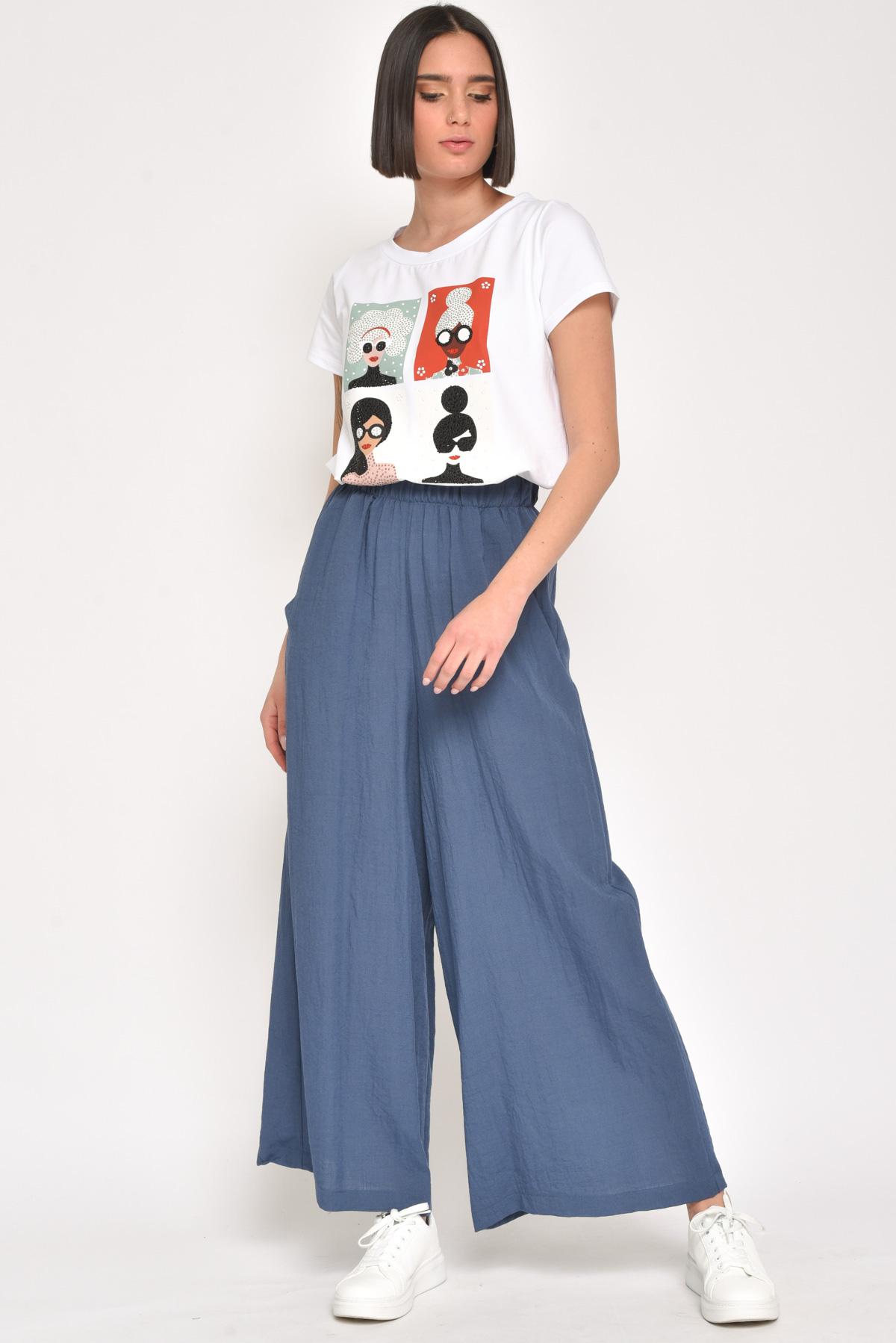 """T-SHIRT """"4 FIGURE"""" IN COTONE CON STRASS for women - WHITE/BLACK - Paquito Pronto Moda Shop Online"""