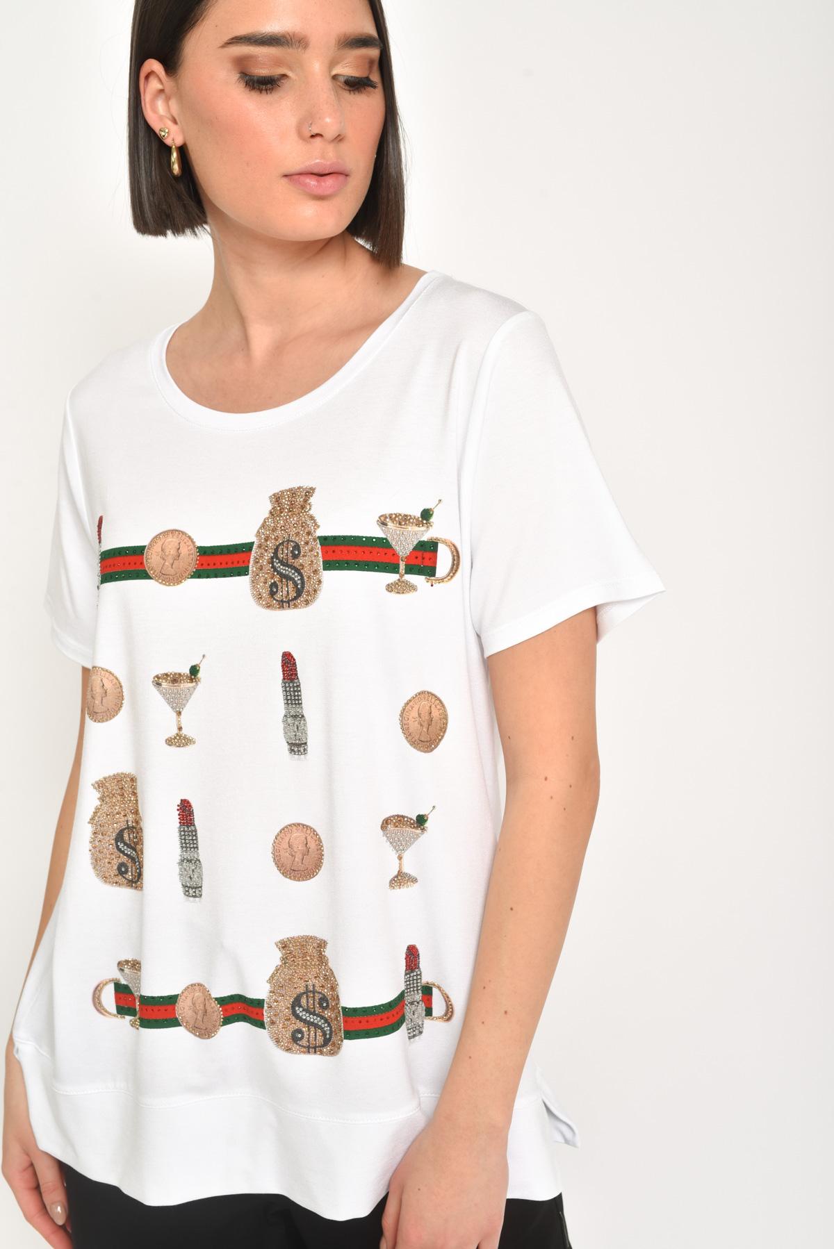 T-SHIRT IN VISCOSA CON STRASS da donna - BIANCO/ORO - Paquito Pronto Moda Shop Online