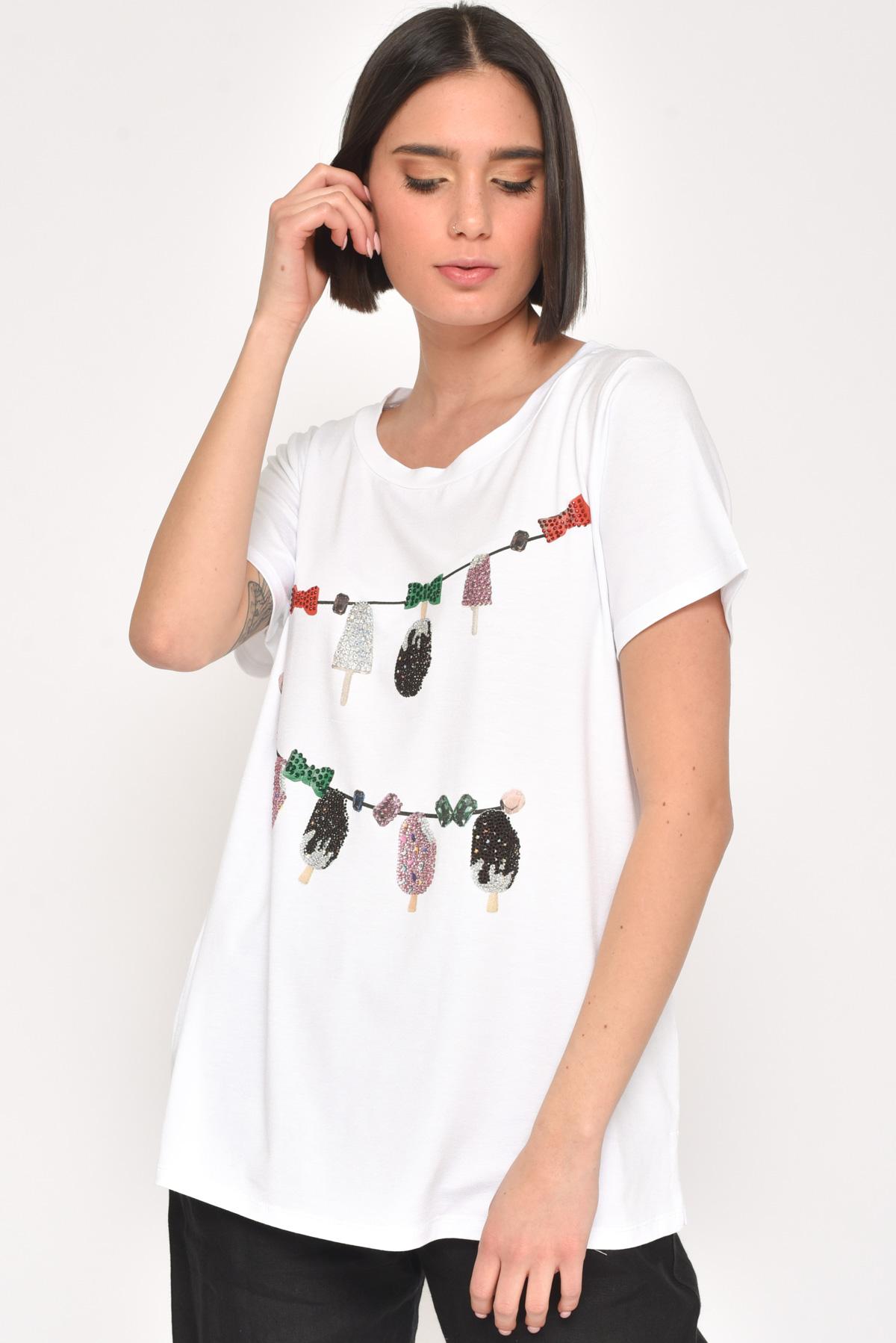 T-SHIRT GELATI IN COTONE CON STRASS da donna - BIANCO / NERO - Paquito Pronto Moda Shop Online