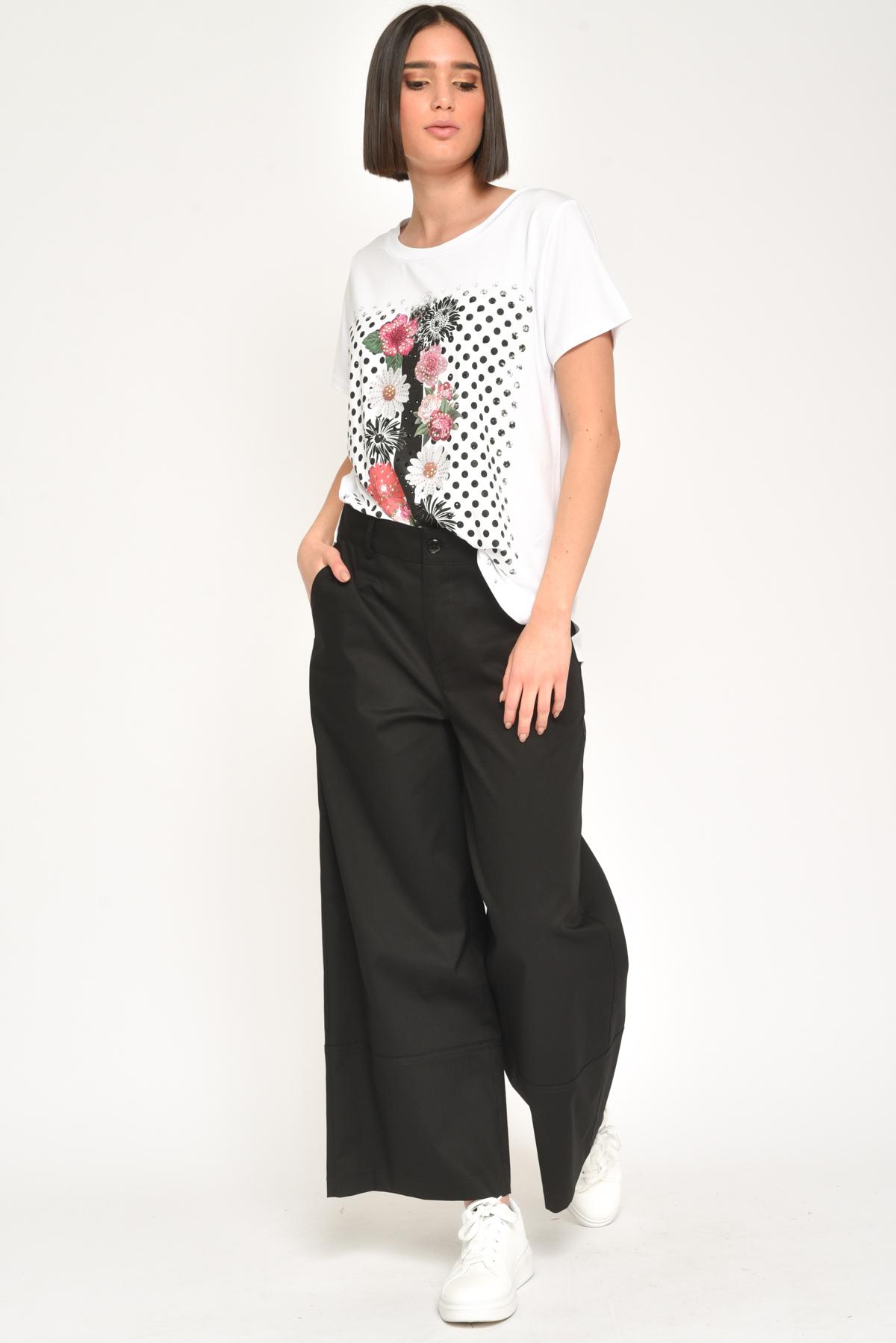 T-SHIRT ROSE IN VISCOSA  da donna - BIANCO / NERO - Paquito Pronto Moda Shop Online