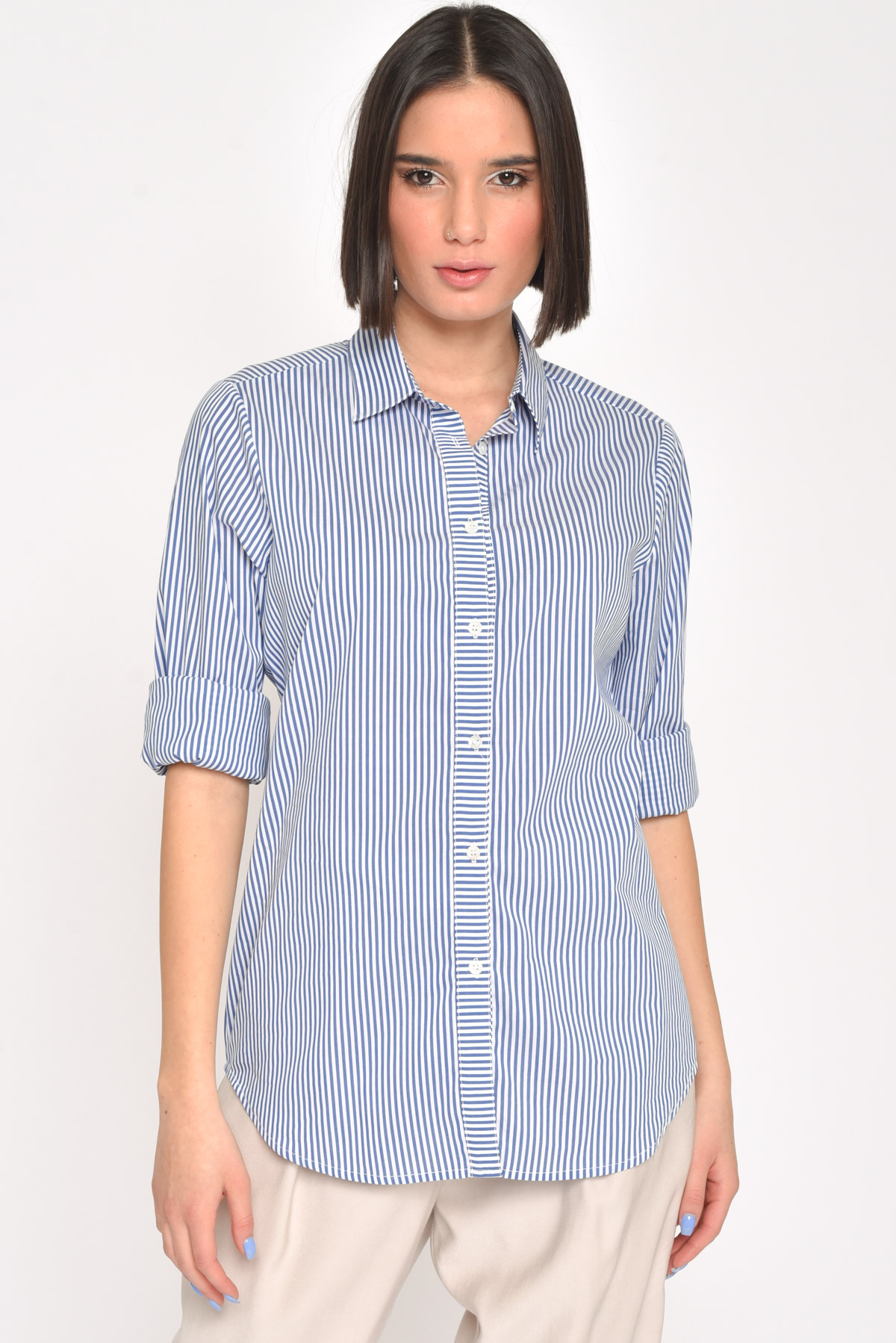 CAMICIA A RIGHE CON MANICHE ARROTOLATE  for women - LIGHT BLUE - Paquito Pronto Moda Shop Online