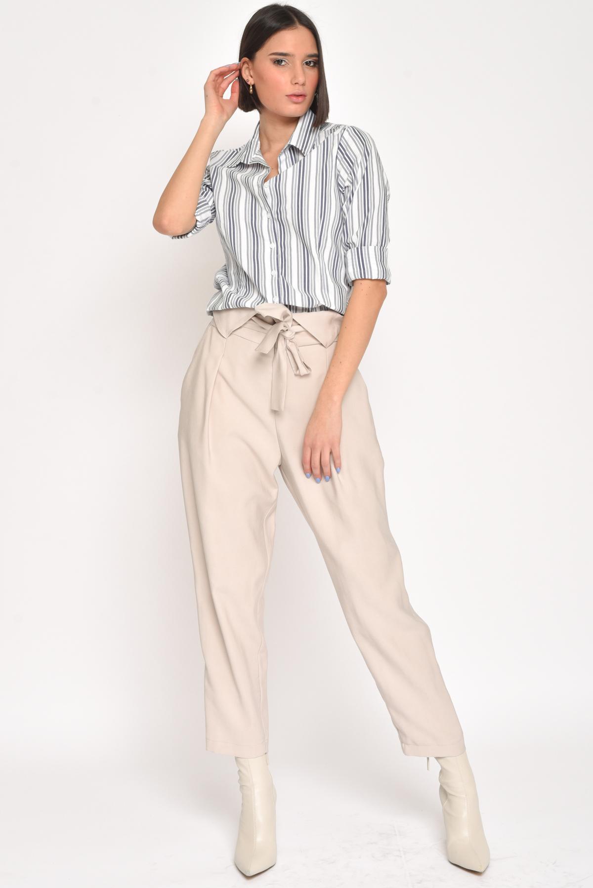 CAMICIA IN COTONE A RIGHE  da donna - BLU - Paquito Pronto Moda Shop Online