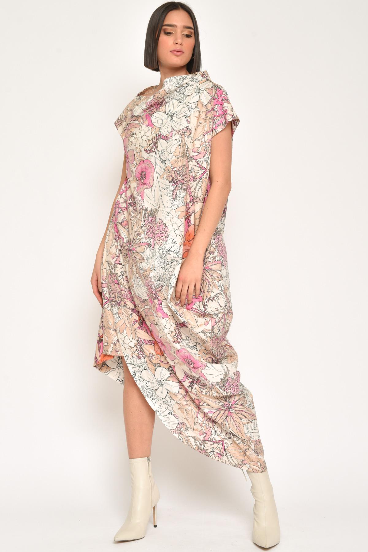 ABITO LUNGO CON DRAPPEGGIO 100% COTONE da donna - FUXIA - Paquito Pronto Moda Shop Online