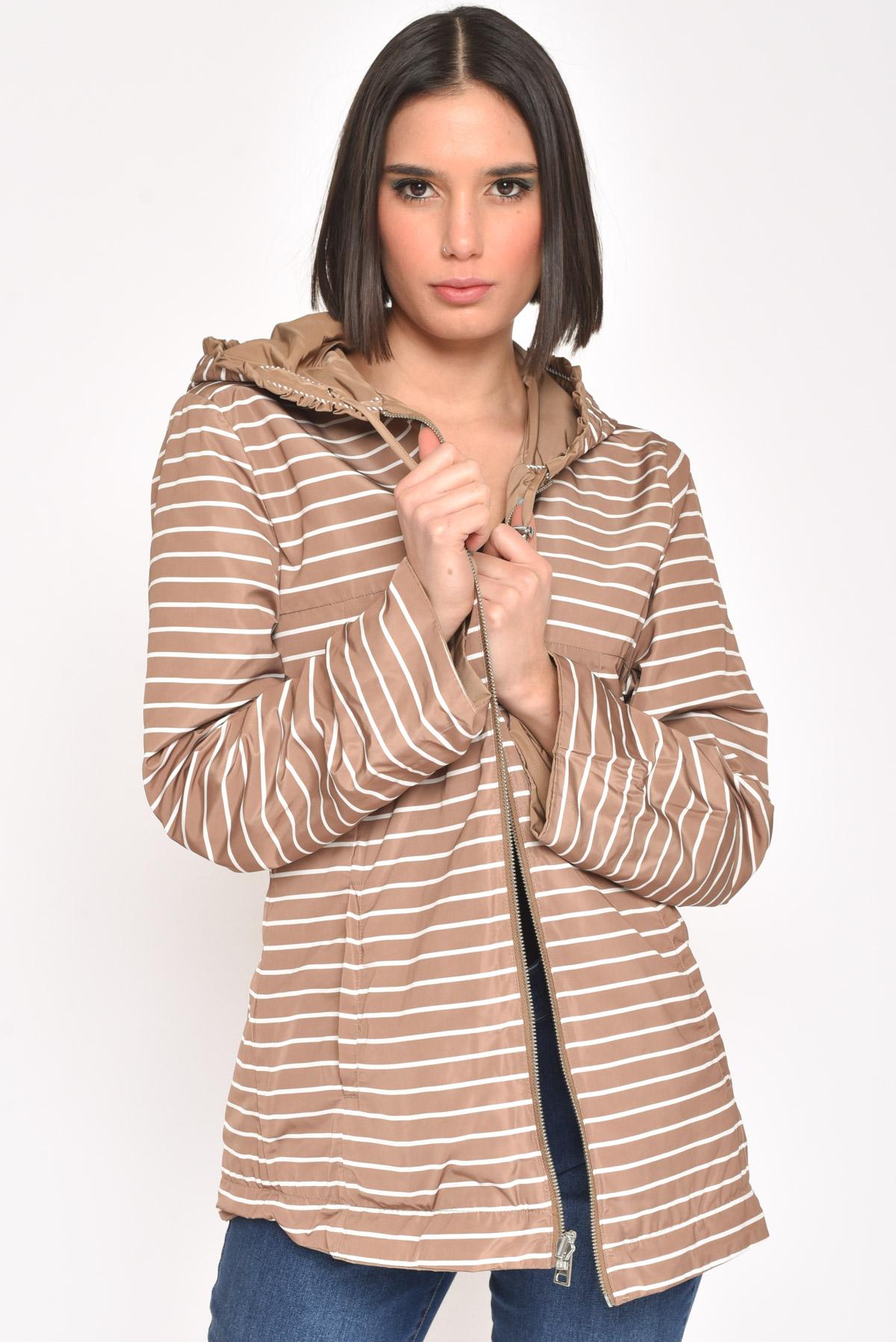 GIACCA IN NYLON REVERSIBILE CON CAPPUCCIO for women - TOBACCO - Paquito Pronto Moda Shop Online