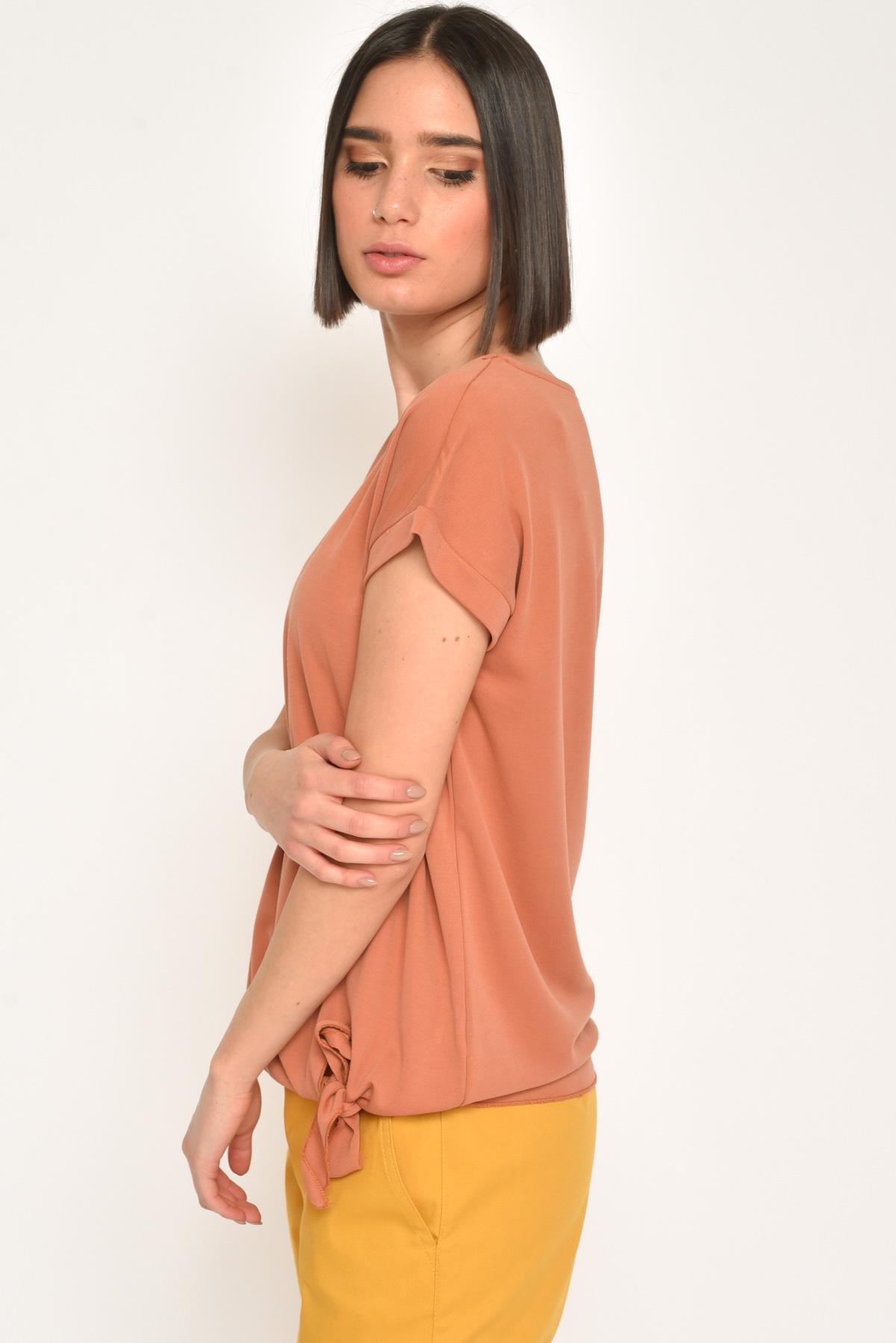 T-SHIRT LINEA MORBIDA CON NODO SUL FONDO  da donna - ARANCIO - Paquito Pronto Moda Shop Online