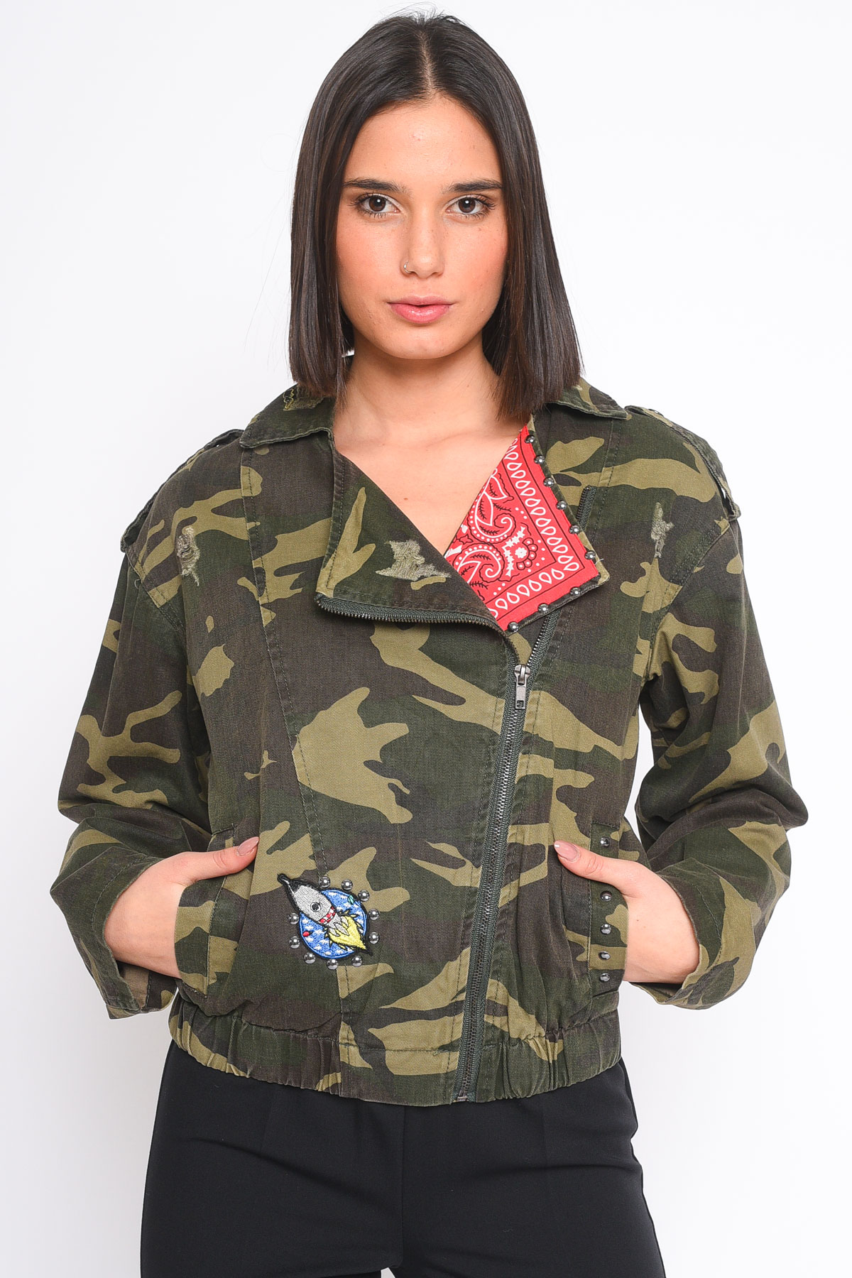 GIACCA BOMBER CON PATCH  for women - MILITARY - Paquito Pronto Moda Shop Online