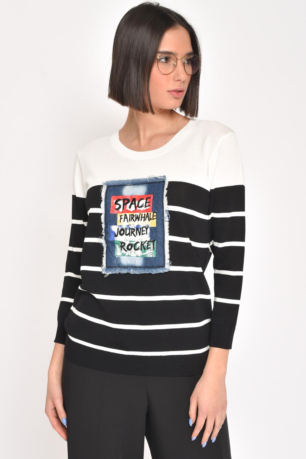 MAGLIA A RIGHE CON PATCH  da donna - NERO - Paquito Pronto Moda Shop Online