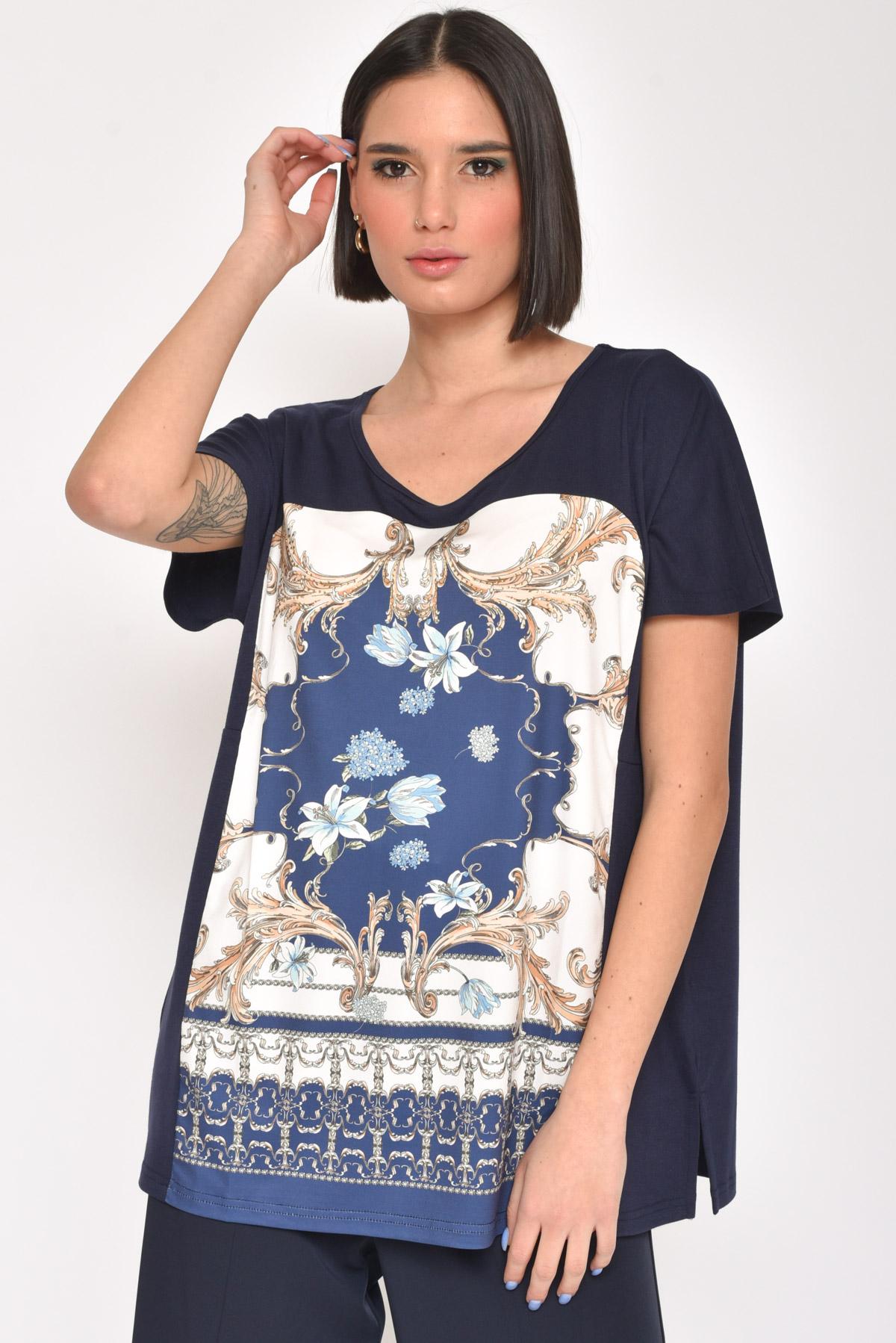 T-SHIRT CON STAMPA STILE ROMANTICO  for women - BLUE - Paquito Pronto Moda Shop Online