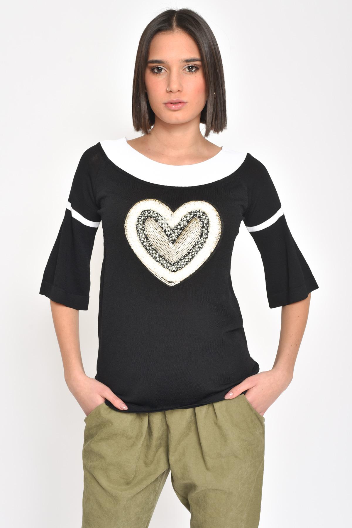 MAGLIA IN VISCOSA CON RICAMO  da donna - NERO - Paquito Pronto Moda Shop Online