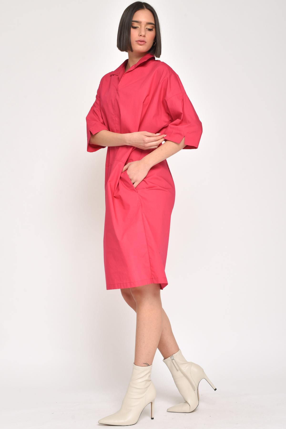ABITO LINEA A UOVO 100% COTONE for women - FUCHSIA - Paquito Pronto Moda Shop Online