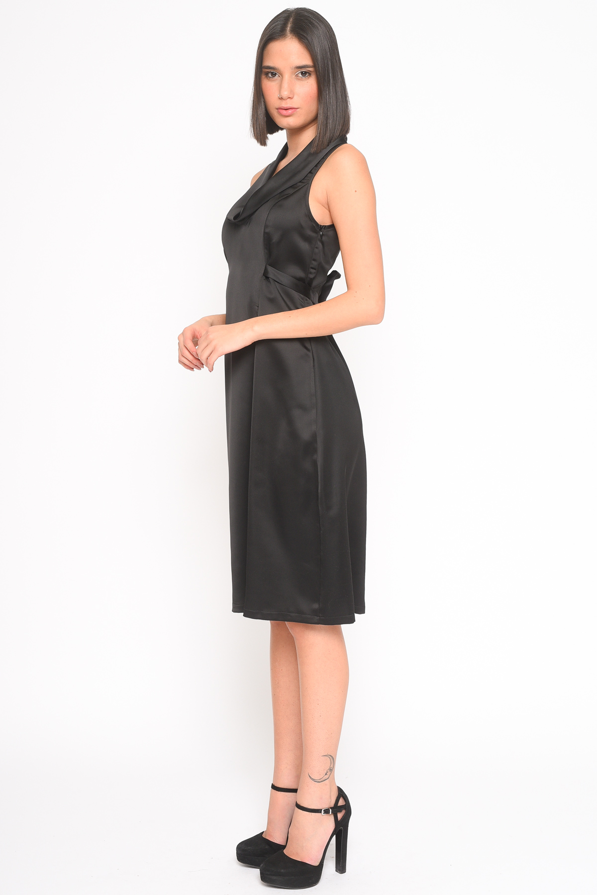 ABITO SMANICATO IN RASO for women - BLACK - Paquito Pronto Moda Shop Online