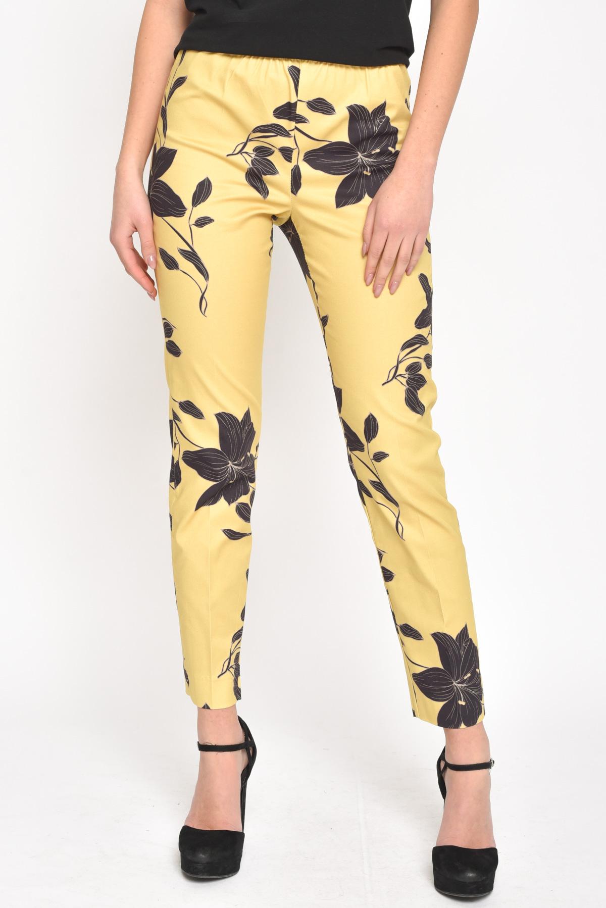 PANTALONI FLOWERS A CONTRASTO for women - MUSTARD - Paquito Pronto Moda Shop Online