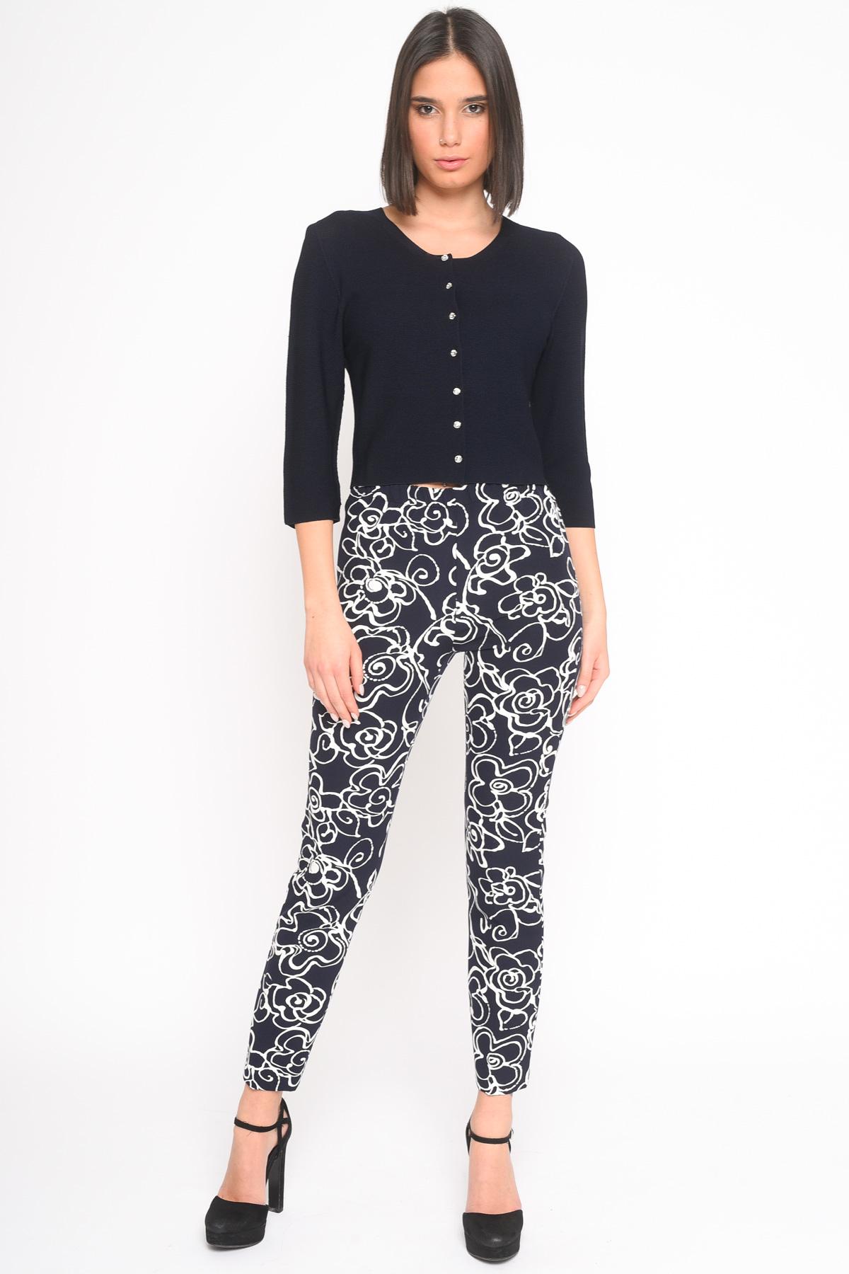 PANTALONE A FIORI B&W for women - BLUE - Paquito Pronto Moda Shop Online