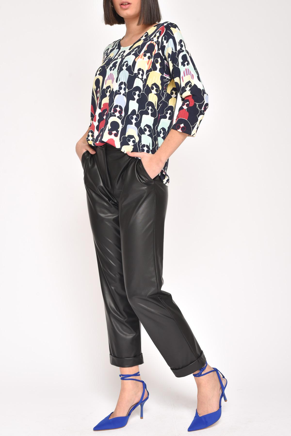 PANTALONE SPORTY CHIC IN ECOPELLE for women - BLACK - Paquito Pronto Moda Shop Online