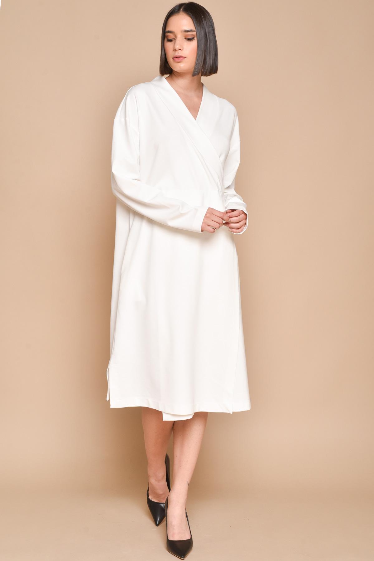 ABITO CON SCOLLO INCROCIATO for women - WHITE - Paquito Pronto Moda Shop Online