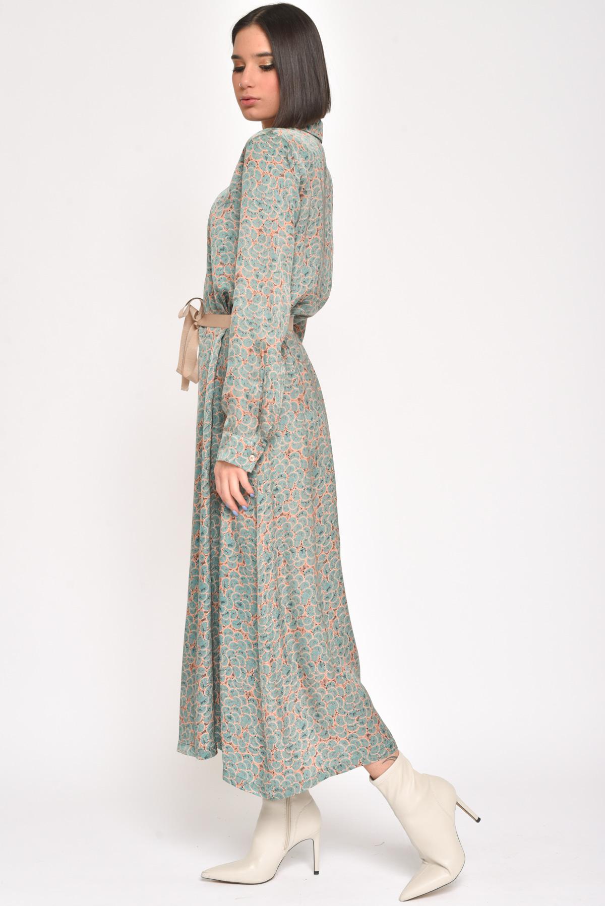 ABITO/CHEMISIER FANTASIA PIUME for women - GREEN - Paquito Pronto Moda Shop Online