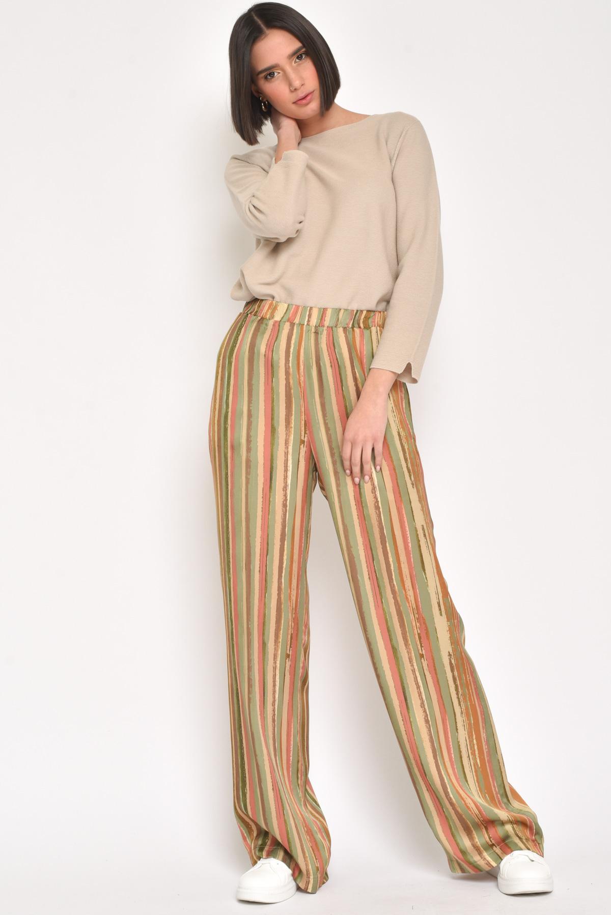 PANTALONI 100% VISCOSA IN RIGHE MULTICOLOR da donna - ARANCIO - Paquito Pronto Moda Shop Online