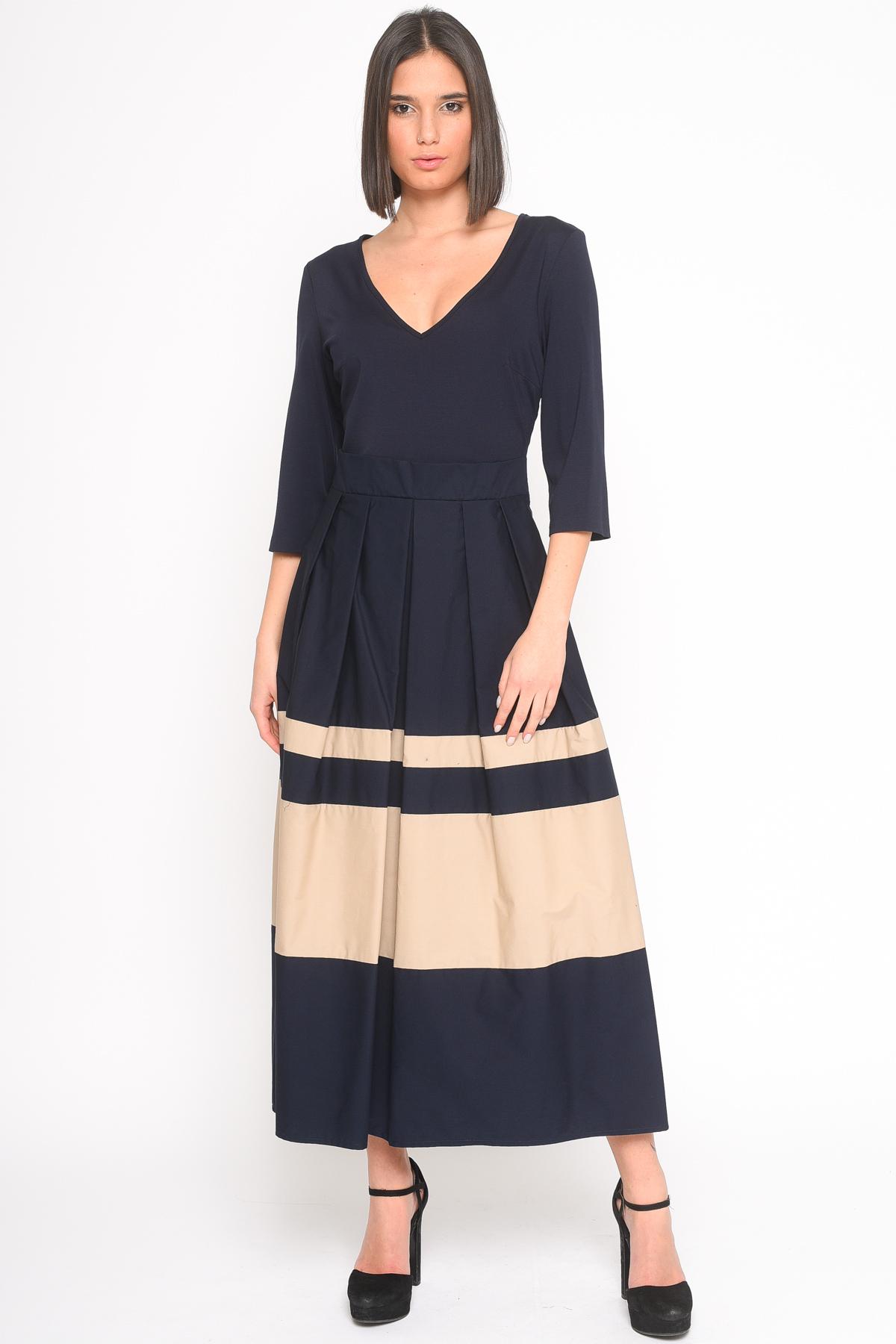 ABITO CON GONNA A  BALZE da donna - BLU/BEIGE - Paquito Pronto Moda Shop Online