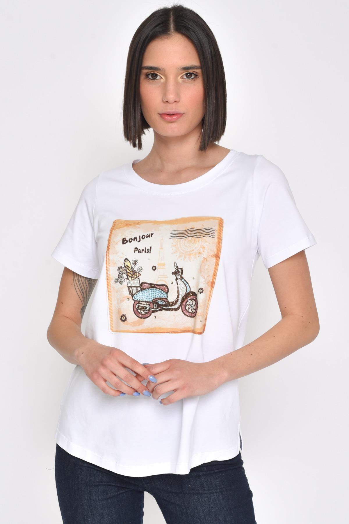 T-SHIRT BONJOUR PARIS da donna - BIANCO - Paquito Pronto Moda Shop Online