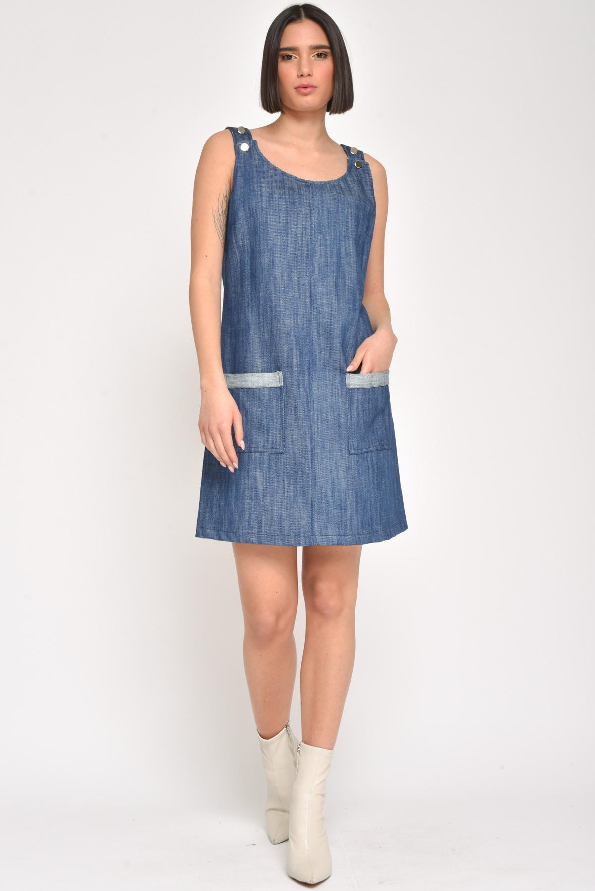 ABITO SMANICATO IN JEANS CON TASCHE for women - JEANS - Paquito Pronto Moda Shop Online