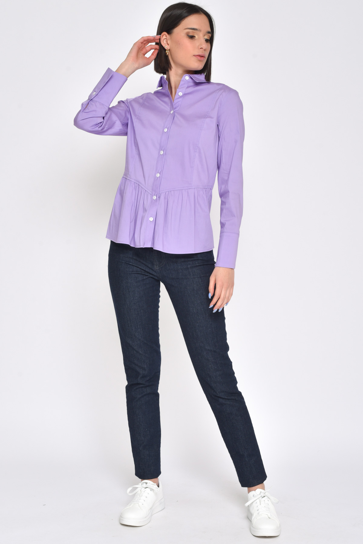 CAMICIA IN COTONE CON ROUCHE for women - LILLA - Paquito Pronto Moda Shop Online