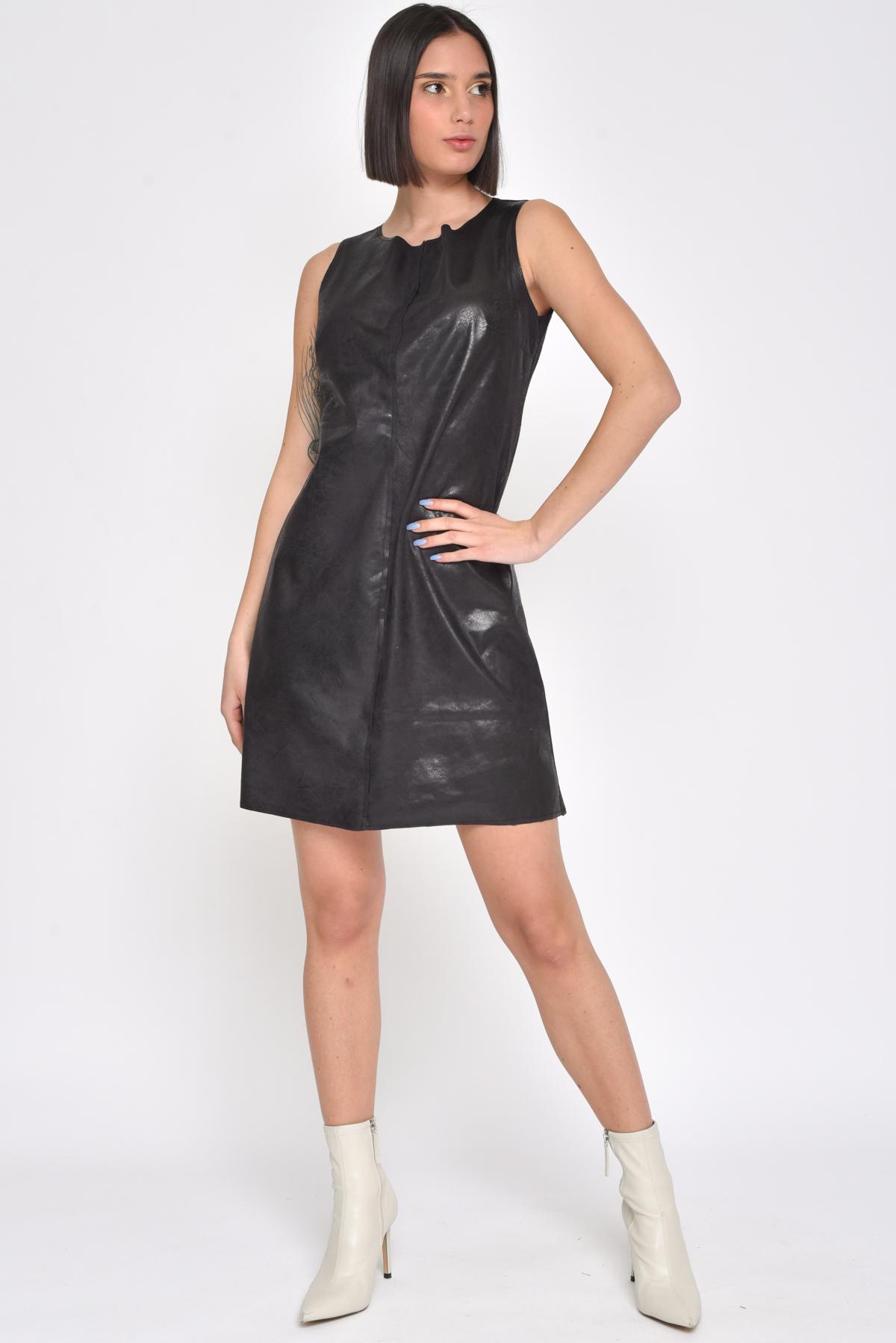 ABITO SMANICATO IN ECOPELLE da donna - NERO - Paquito Pronto Moda Shop Online