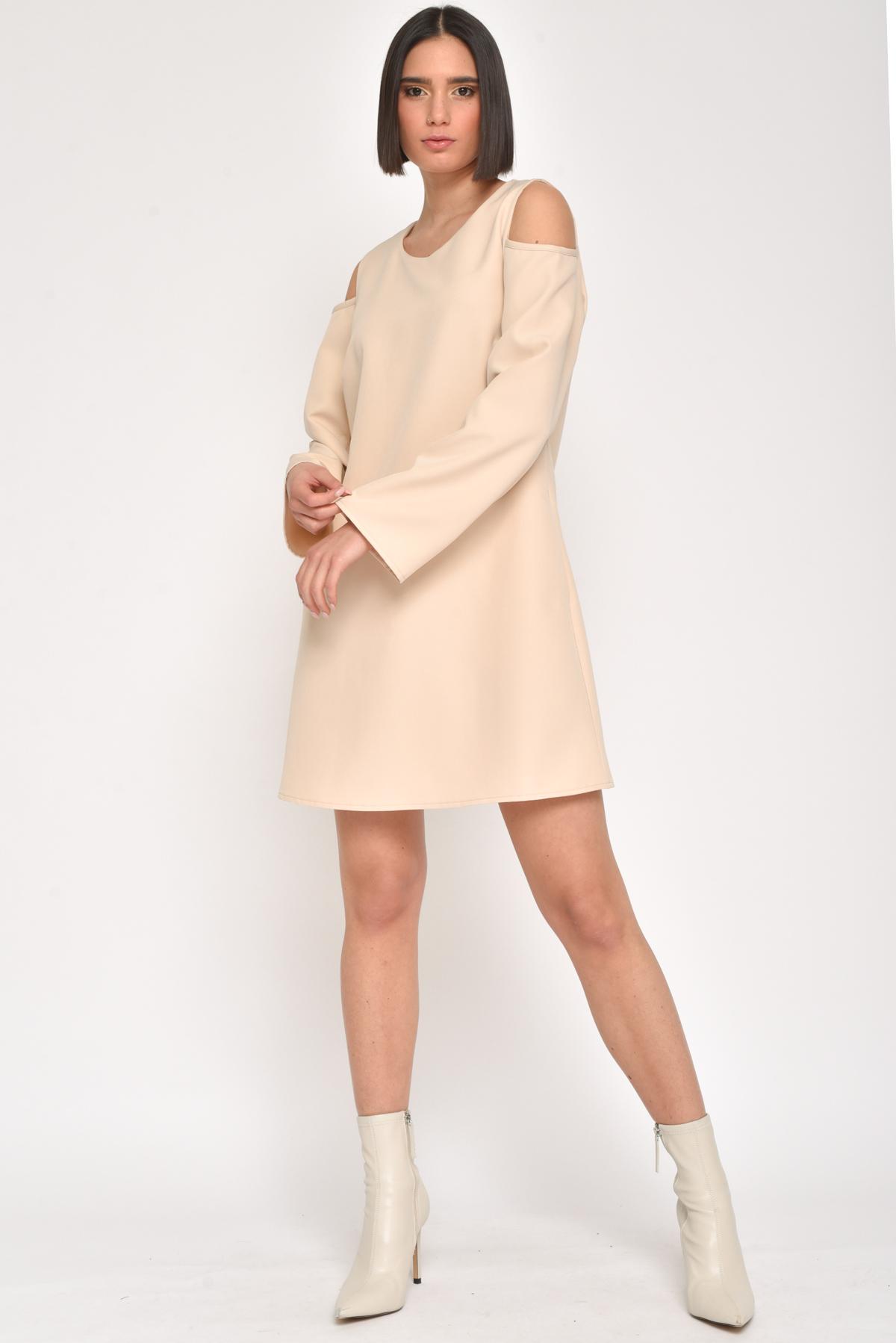 ABITO A TRAPEZIO CON SPALLE SCOPERTE for women - BEIGE - Paquito Pronto Moda Shop Online