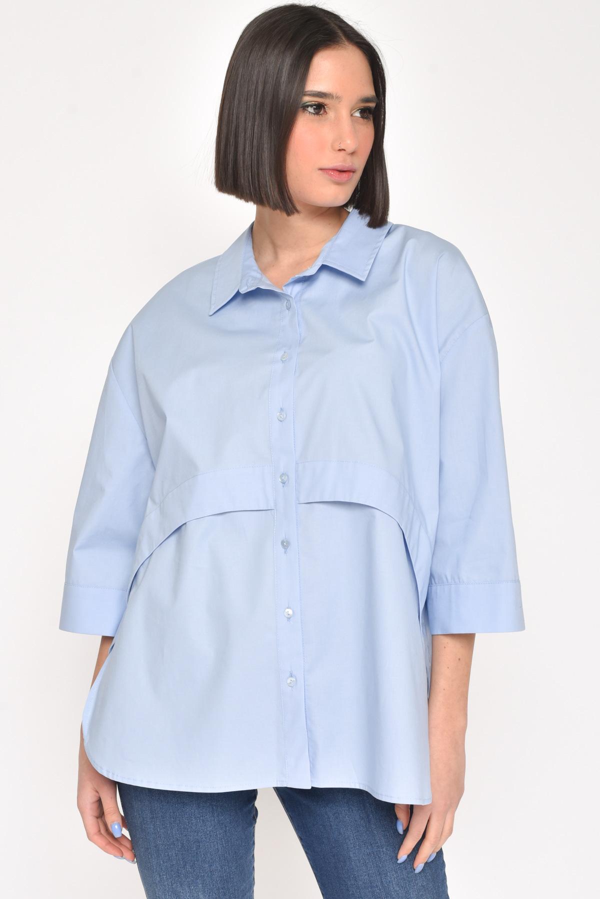 CAMICIA IN COTONE A SCATOLA for women - LIGHT BLUE - Paquito Pronto Moda Shop Online