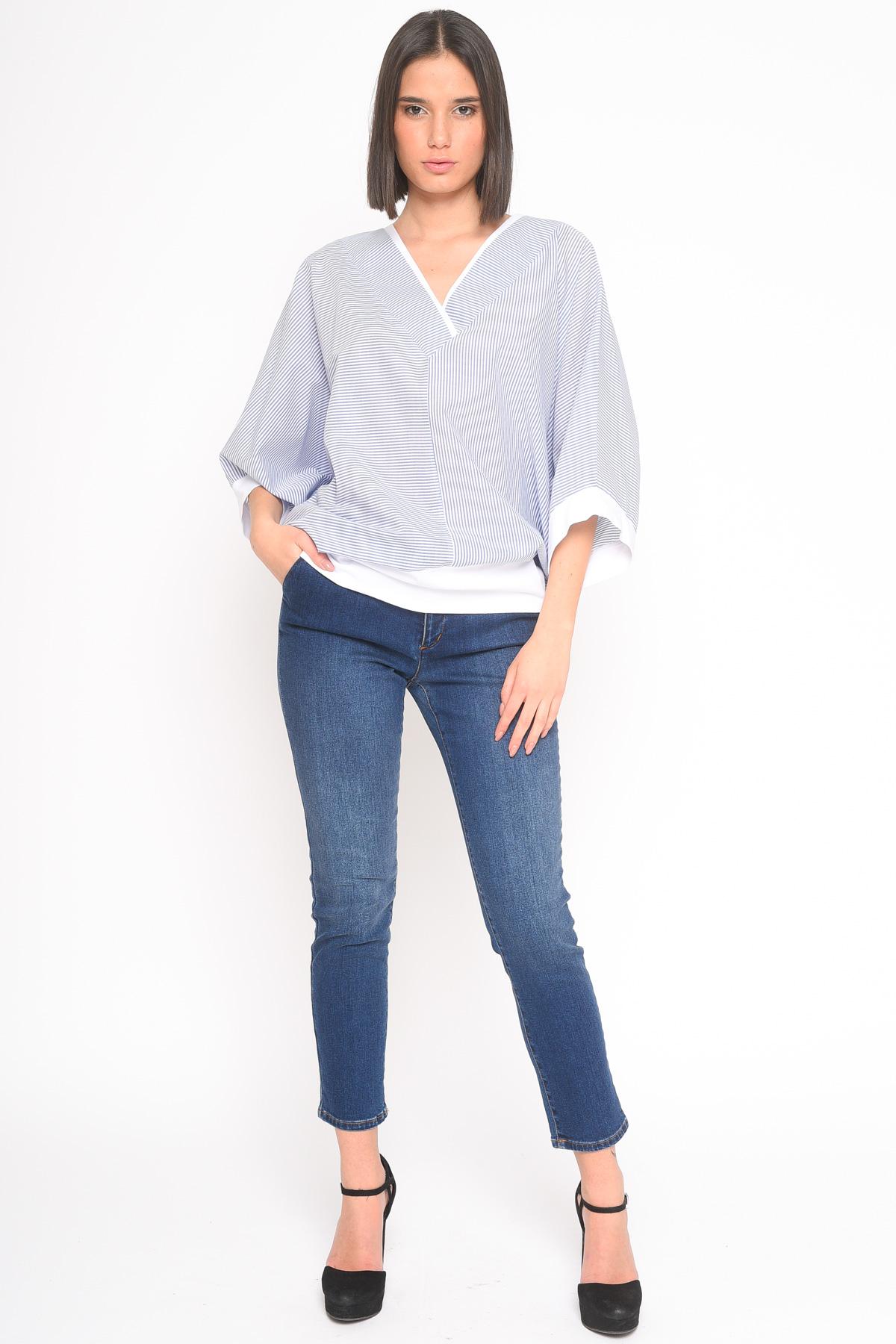 BLUSA A KIMONO IN COTONE RIGATO for women - BLUE - Paquito Pronto Moda Shop Online