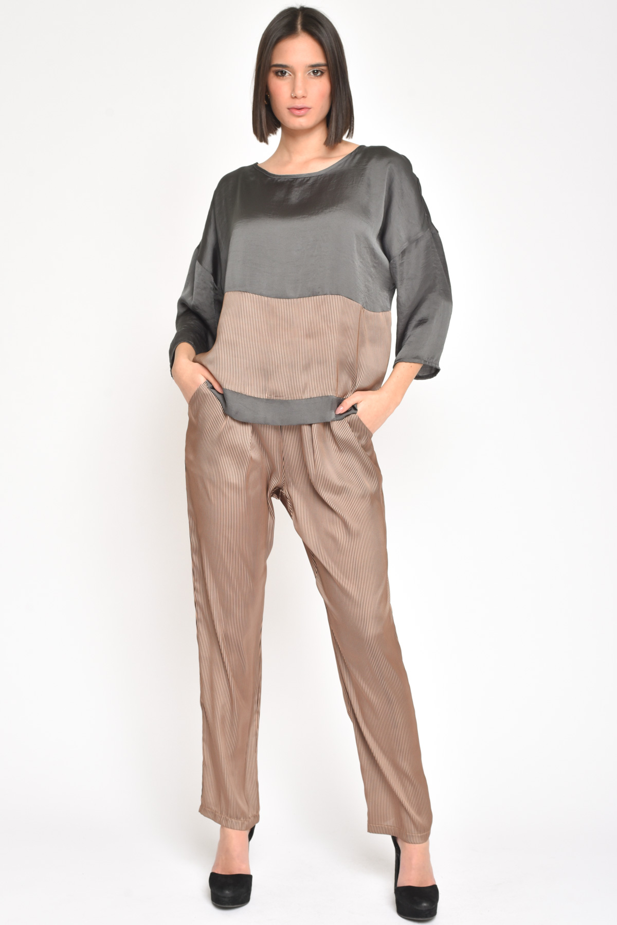 PANTALONE IN RASO A RIGHE da donna -  - Paquito Pronto Moda Shop Online