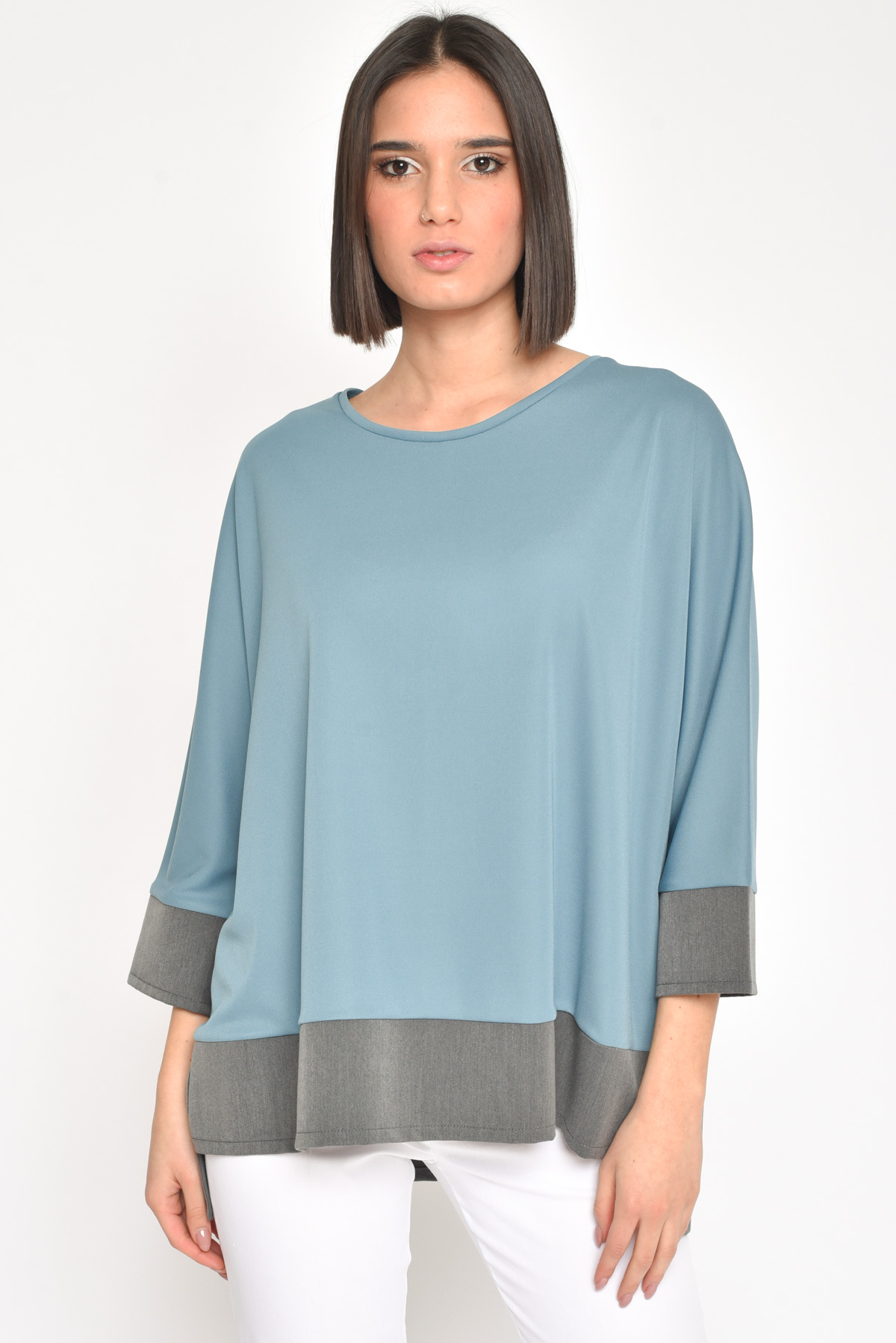BLUSA CON PROFILI A CONTRASTO for women - PETROLEUM - Paquito Pronto Moda Shop Online