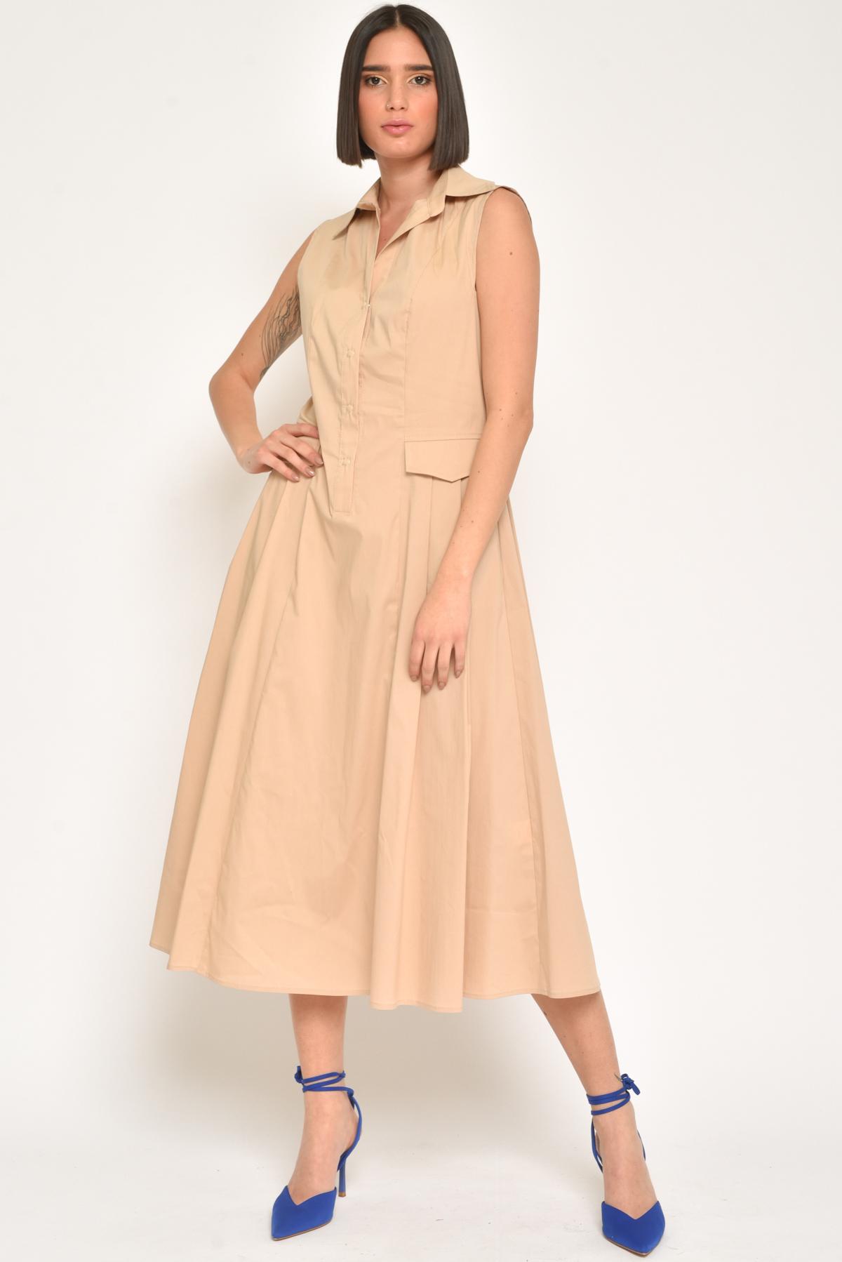 ABITO LUNGO A BALZE IN MISTO COTONE  for women - BEIGE - Paquito Pronto Moda Shop Online