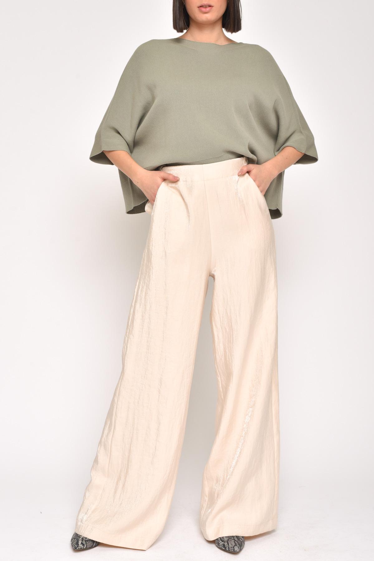 PANTALONE A PALAZZO EFFETTO CANGIANTE for women - CREAM - Paquito Pronto Moda Shop Online