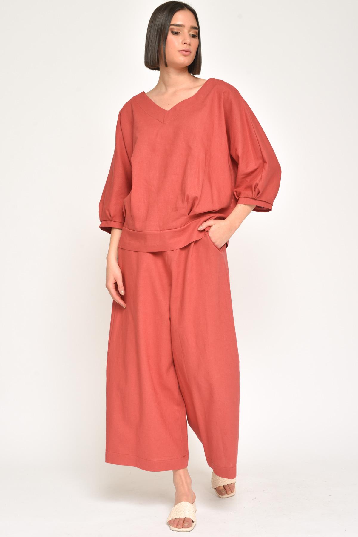 PANTALONI CROPPED GAMBA LARGA  IN VISCOSA E LINO  for women - RED - Paquito Pronto Moda Shop Online