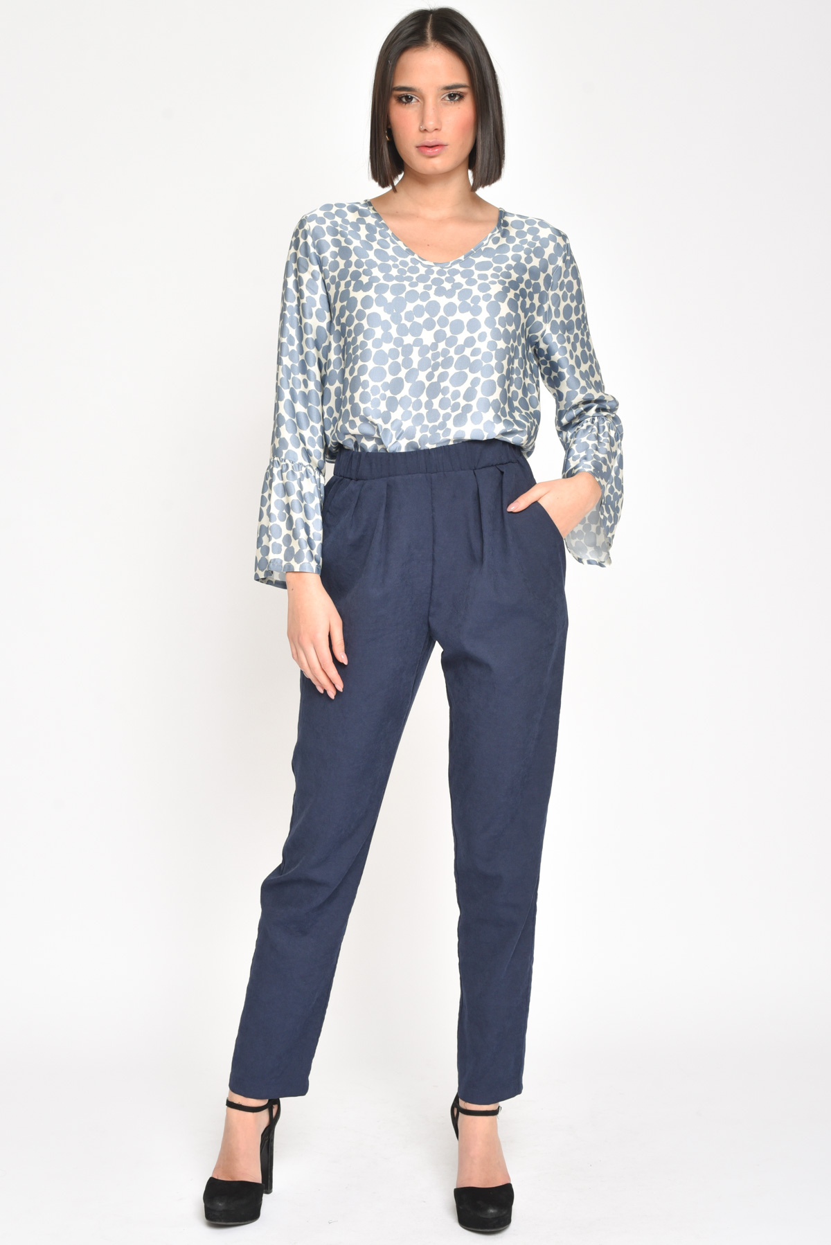 PANTALONE CON  ELASTICO ULTRA LEGGERI for women - BLUE - Paquito Pronto Moda Shop Online