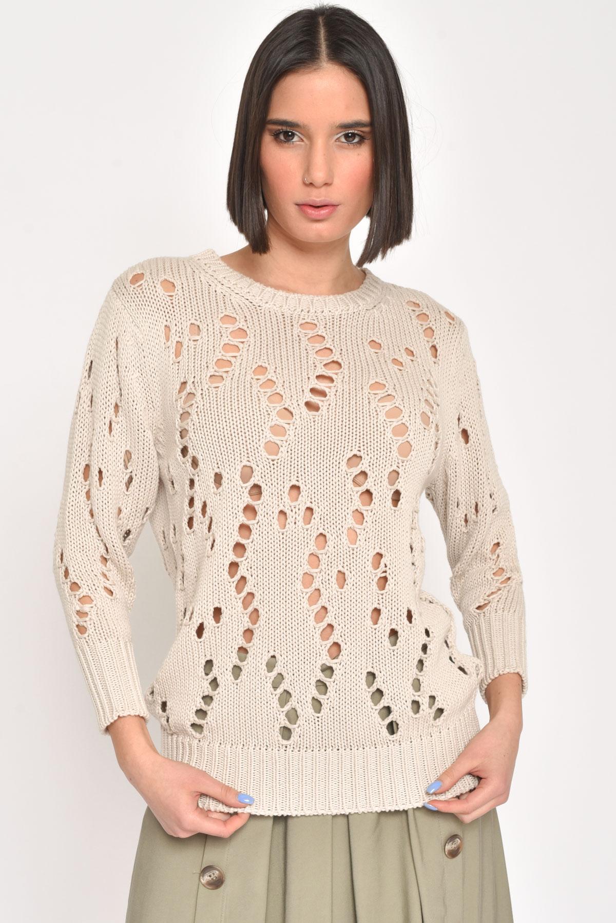 MAGLIA 100% COTONE TRAFORATA  da donna - SABBIA - Paquito Pronto Moda Shop Online