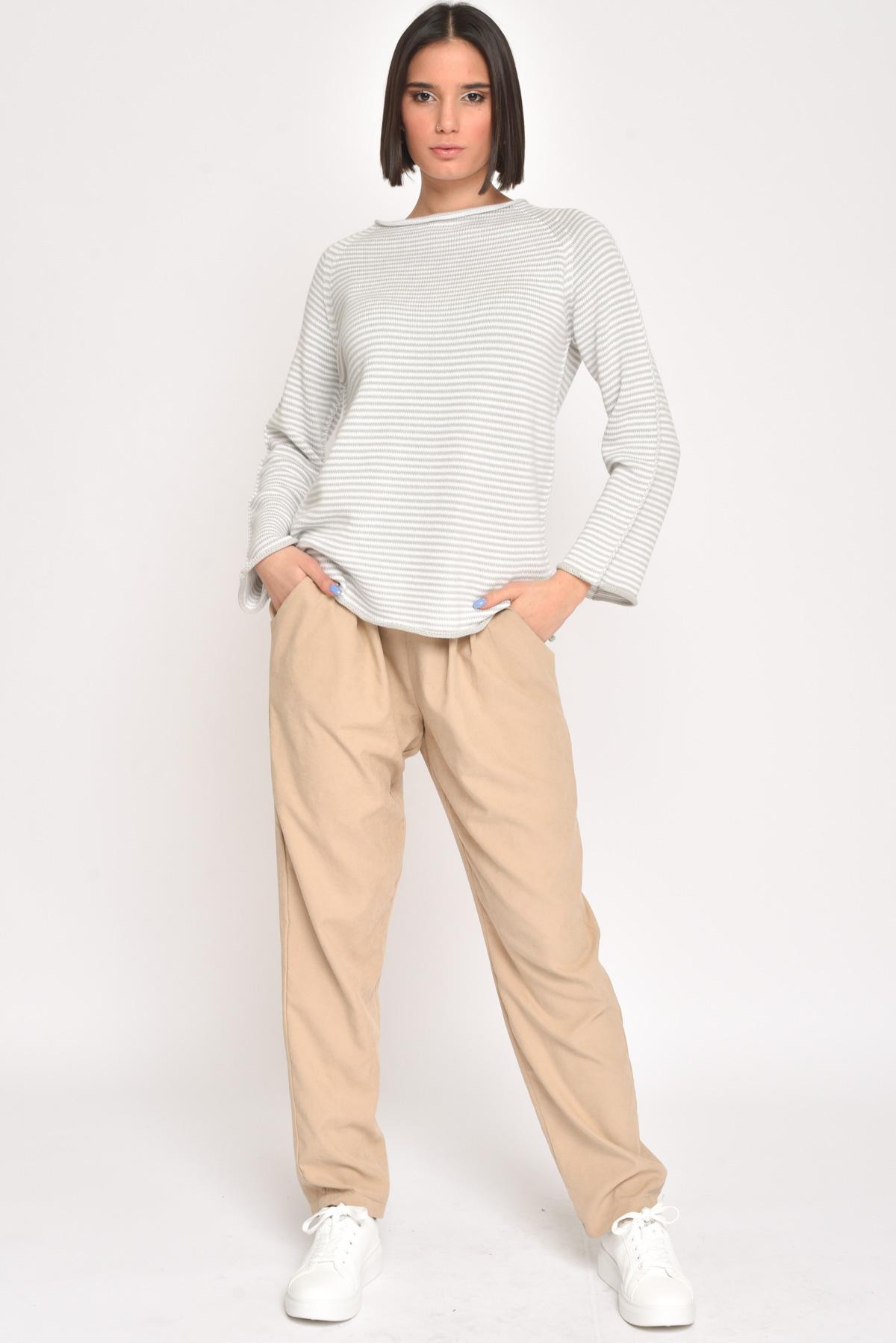 MAGLIA 100% COTONE A RIGHE   da donna - SABBIA - Paquito Pronto Moda Shop Online